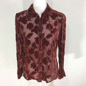 Vintage 90s burnt orange burnout blouse
